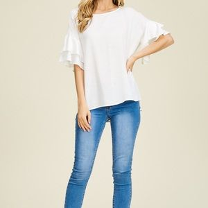 Tops - 5⭐️ rating Tiered Ruffle Sleeves Woven Top